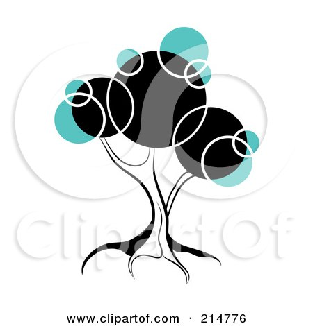 Royalty-Free (RF) Clipart Illustration of a Tree With Black And Blue Circles by MilsiArt