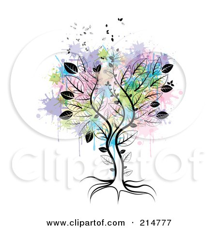 Royalty-Free (RF) Clipart Illustration of a Tree Over Abstract Splatters by MilsiArt