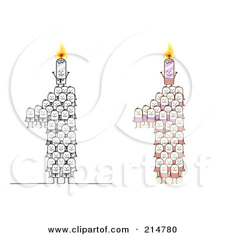 Royalty-Free (RF) Clipart Illustration of a Digital Collage Of Crowds Of Stick Men Forming 1 With Candles by NL shop