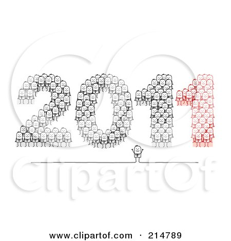 Royalty-Free (RF) Clipart Illustration of a Stick Businessmen Forming 2011 by NL shop