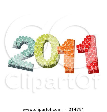 Royalty-Free (RF) Clipart Illustration of Colorful Stick People Forming 2011 by NL shop