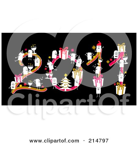 Royalty-Free (RF) Clipart Illustration of a Stick People With Christmas Items, Forming 2011 by NL shop