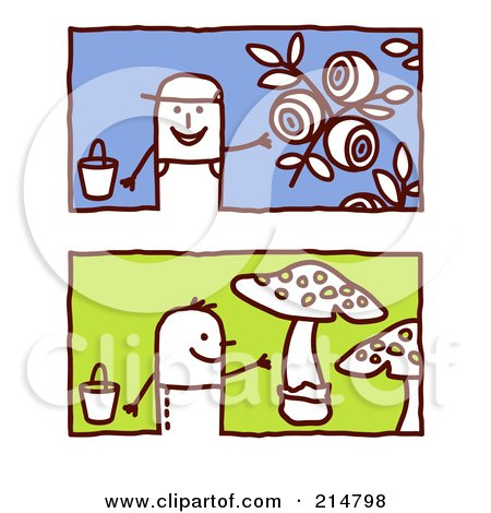 Royalty-Free (RF) Clipart Illustration of a Digital Collage Of Stick Men Gardening by NL shop