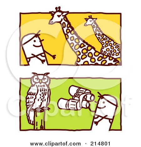 Royalty-Free (RF) Clipart Illustration of a Digital Collage Of Stick Men Watching Giraffes And An Owl by NL shop