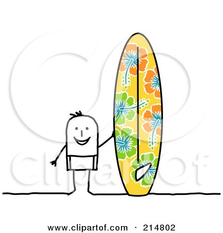Stick Man Standing By A Big Surf Board Posters, Art Prints