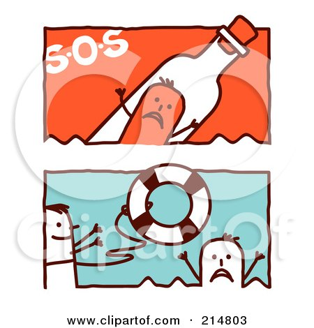 Royalty-Free (RF) Clipart Illustration of a Digital Collage Of Stick Men In An Sos Bottle And Tossing A Life Buoy by NL shop