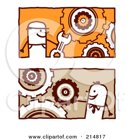 Royalty-Free (RF) Clipart Illustration of a Digital Collage Of Stick Business Men With Gear Cogs by NL shop
