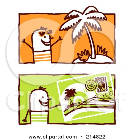 Royalty-Free (RF) Clipart Illustration of a Digital Collage Of Stick Men By A Palm Tree And Post Card by NL shop
