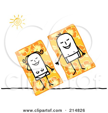 Royalty-Free (RF) Clipart Illustration of a Stick Couple Sun Bathing On Hibiscus Beach Towels by NL shop