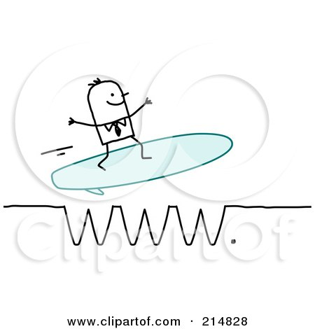 Royalty-Free (RF) Clipart Illustration of a Stick Business Man Surfing A WWW Wave by NL shop