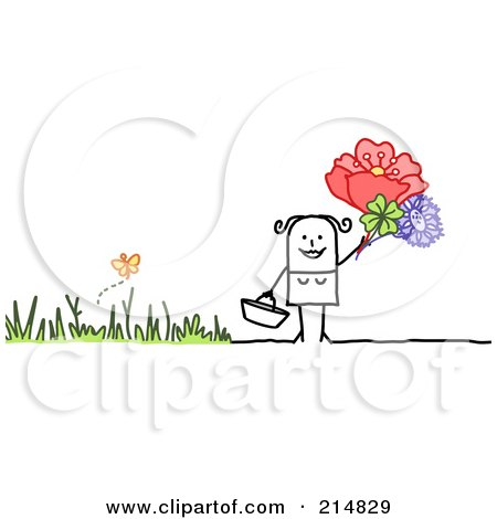 Royalty-Free (RF) Clipart Illustration of a Stick Woman Picking Flowers by NL shop