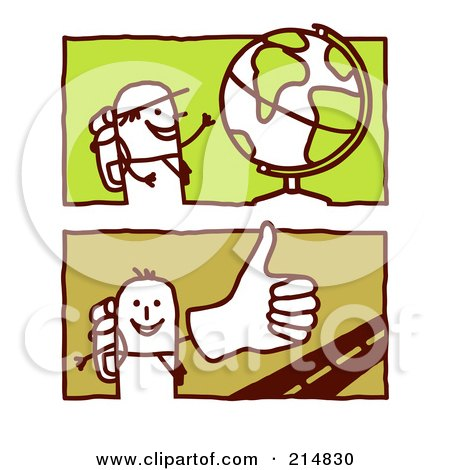 Royalty-Free (RF) Clipart Illustration of a Digital Collage Of Stick Men Trekking The Globe by NL shop