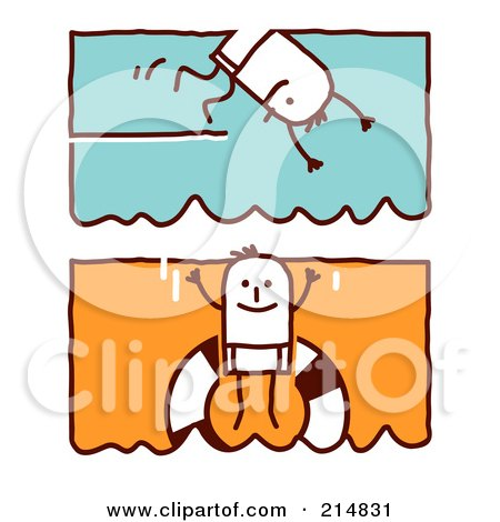 Royalty-Free (RF) Clipart Illustration of a Digital Collage Of Stick Men Swimming by NL shop