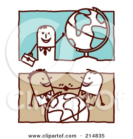 Royalty-Free (RF) Clipart Illustration of a Digital Collage Of Stick Business Men With Globes by NL shop