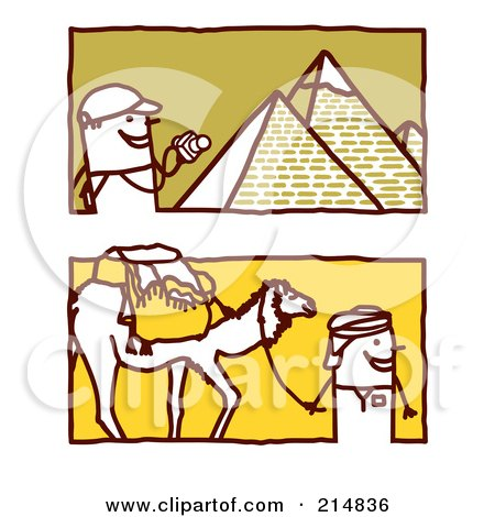 Royalty-Free (RF) Clipart Illustration of a Digital Collage Of Stick Business People In The Middle East by NL shop