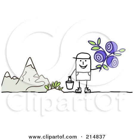 Royalty-Free (RF) Clipart Illustration of a Stick Man Picking Wild Flowers by NL shop
