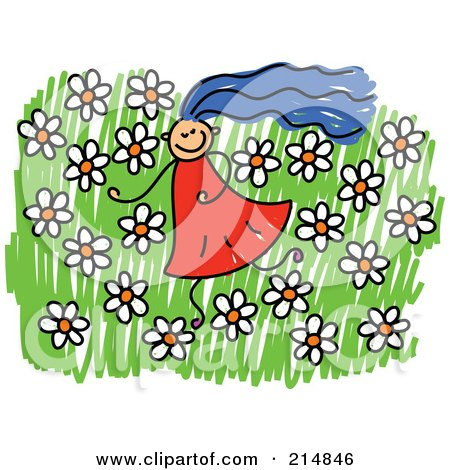 Royalty-Free (RF) Clipart Illustration of a Childs Sketch Of A Girl In A Field Of Flowers by Prawny