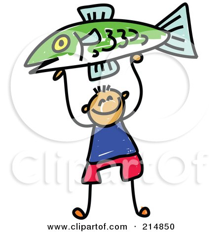 Royalty-Free (RF) Clipart Illustration of a Childs Sketch Of A Boy Holding Up A Fish by Prawny