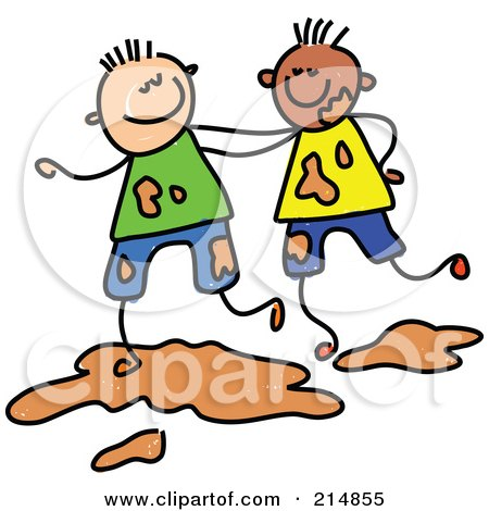 Royalty-Free (RF) Clipart Illustration of a Childs Sketch Of Two Boys Playing In Mud by Prawny
