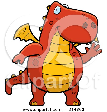 Royalty-Free (RF) Clipart Illustration of a Big Red And Orange Dragon Waving by Cory Thoman