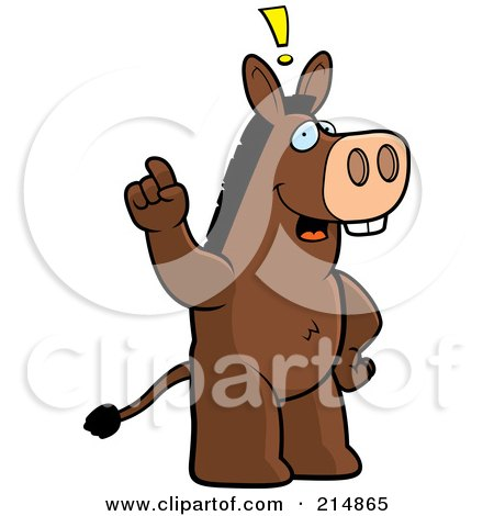 Royalty-Free (RF) Clipart Illustration of a Big Donkey Standing On His Hind Legs, Holding His Finger Up With An Idea by Cory Thoman