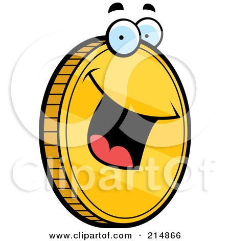 Royalty-Free (RF) Clipart Illustration of a Happy Golden Coin Smiling by Cory Thoman