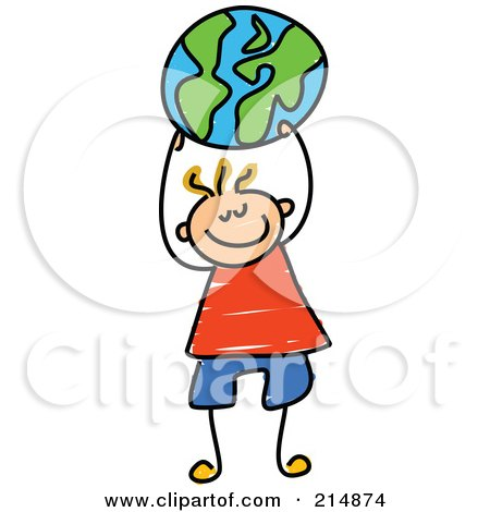 Royalty-Free (RF) Clipart Illustration of a Childs Sketch Of A Boy Holding Up A Globe Ball by Prawny