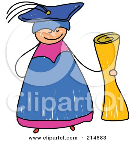 Royalty-Free (RF) Clipart Illustration of a Childs Sketch Of A Happy Graduate Holding A Diploma by Prawny
