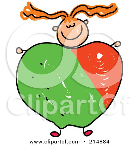 Royalty-Free (RF) Clipart Illustration of a Childs Sketch Of A Girl With An Apple Body by Prawny