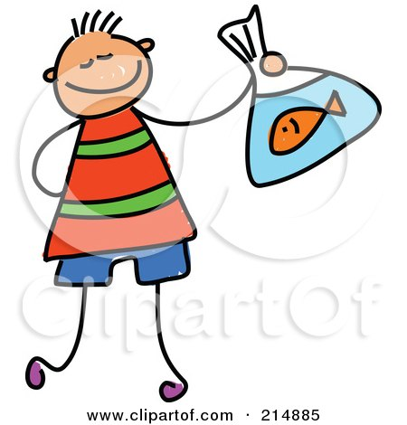 Royalty-Free (RF) Clipart Illustration of a Childs Sketch Of A Boy Holding A Goldfish by Prawny