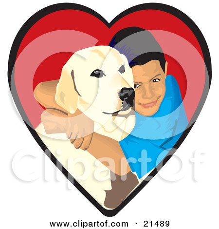 Clipart Illustration of a Loving Boy Hugging His Yellow Labrador Retriever Dog In A Red Heart by David Rey