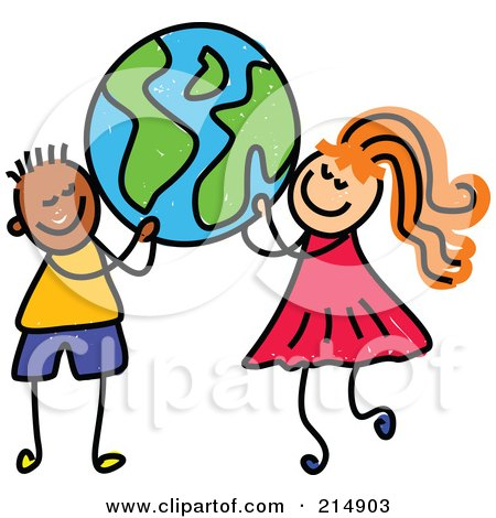 Royalty-Free (RF) Clipart Illustration of a Childs Sketch Of A Boy And A Girl Carrying A Globe by Prawny