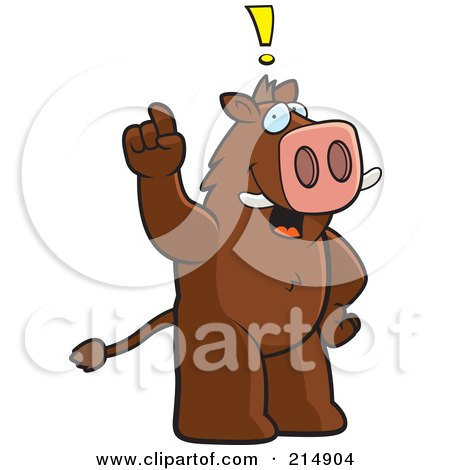 Royalty-Free (RF) Clipart Illustration of a Big Boar Standing On His Hind Legs, Holding His Finger Up With An Idea by Cory Thoman