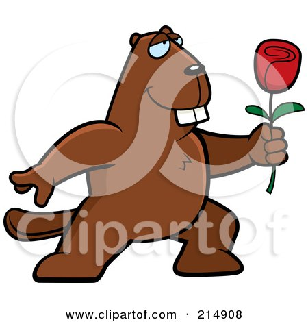 Royalty-Free (RF) Clipart Illustration of a Romantic Beaver Presenting A Rose by Cory Thoman