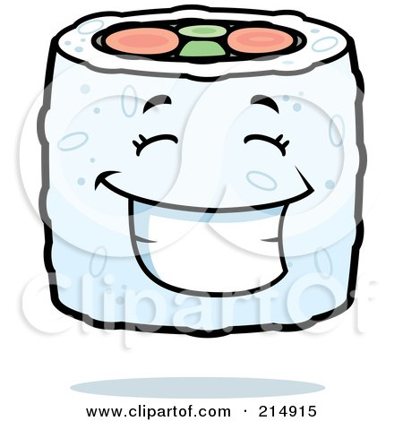 Royalty-Free (RF) Clipart Illustration of a Happy Sushi Character by Cory Thoman