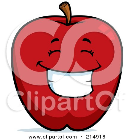 Royalty-Free (RF) Clipart Illustration of a Happy Red Apple Character by Cory Thoman