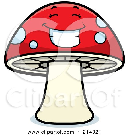 Royalty-Free (RF) Clipart Illustration of a Happy Mushroom Character by Cory Thoman