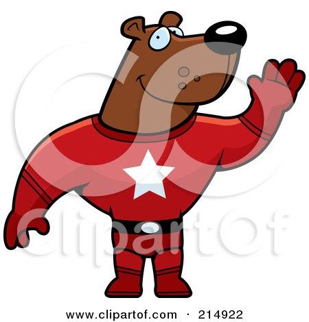 Royalty-Free (RF) Clipart Illustration of a Super Hero Bear Waving by Cory Thoman