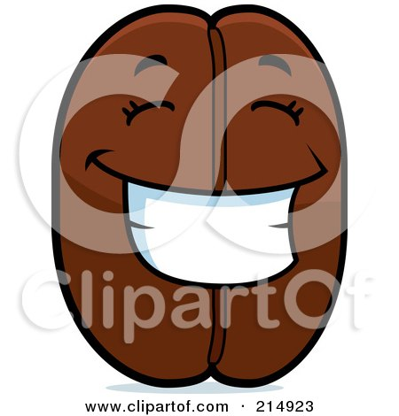 Royalty-Free (RF) Clipart Illustration of a Happy Coffee Bean Character by Cory Thoman