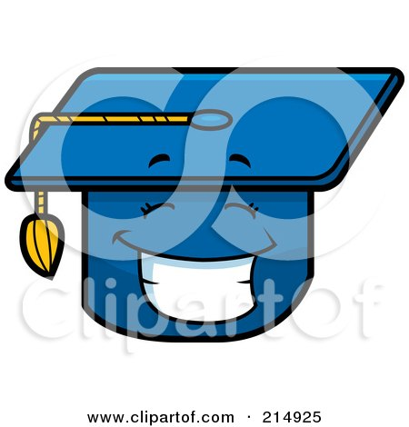 Royalty-Free (RF) Clipart Illustration of a Happy Graduation Cap Character by Cory Thoman