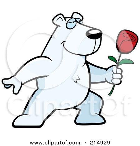 Royalty-Free (RF) Clipart Illustration of a Romantic Polar Bear Presenting A Rose by Cory Thoman