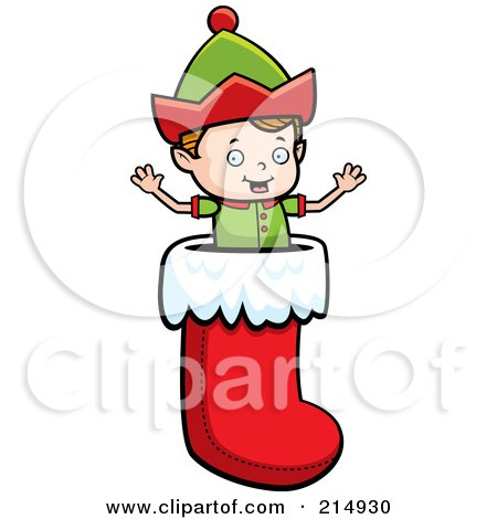 Royalty-Free (RF) Clipart Illustration of a Tiny Elf Popping Out Of A Christmas Stocking by Cory Thoman