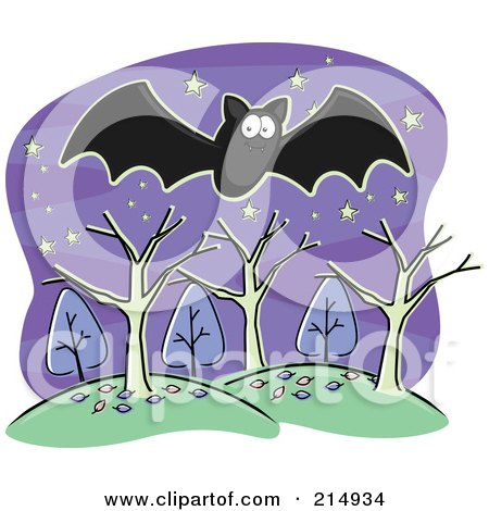 Royalty-Free (RF) Clipart Illustration of a Black Bat Flying Over Trees And Hills by Cory Thoman