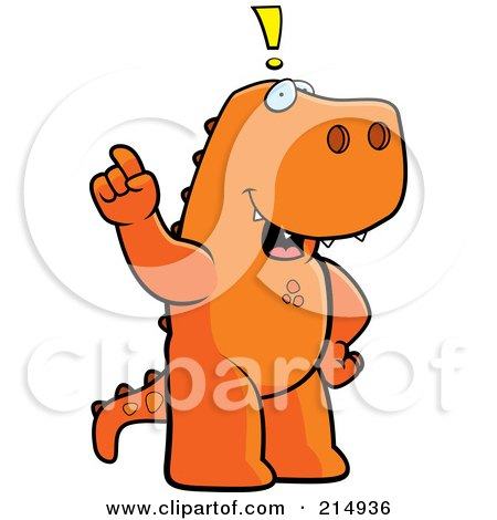 Royalty-Free (RF) Clipart Illustration of a Big Tyrannosaurus Rex Standing On His Hind Legs, Holding His Finger Up With An Idea by Cory Thoman