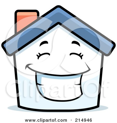Royalty-Free (RF) Clipart Illustration of a Happy House Character by Cory Thoman