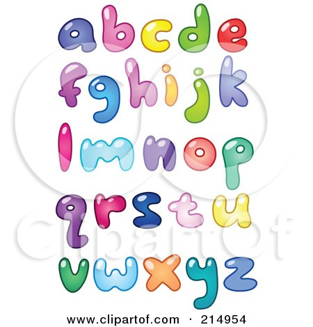 Royalty-Free (RF) Clipart Illustration of a Digital Collage Of Colorful Lowercase Bubbly Letters by yayayoyo