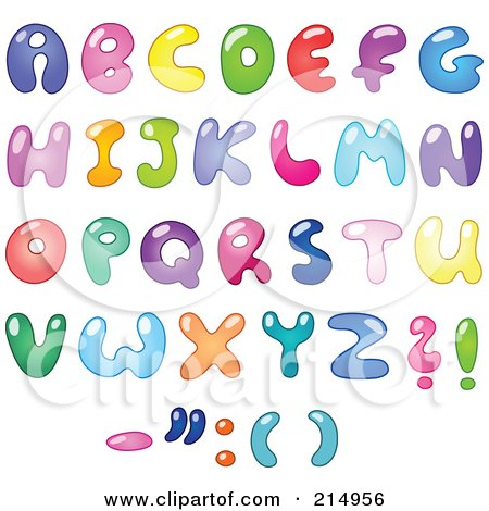 digital collage of colorful bubbly letters and symbols posters art prints
