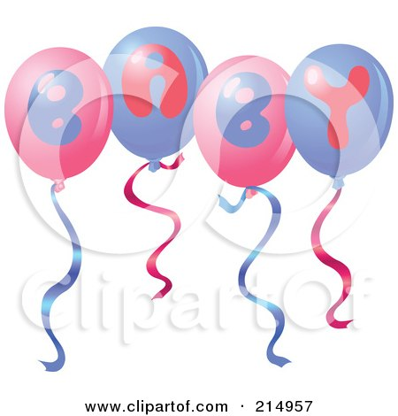 Royalty-Free (RF) Clipart Illustration of a Group Of Pink And Purple Baby Balloons by yayayoyo