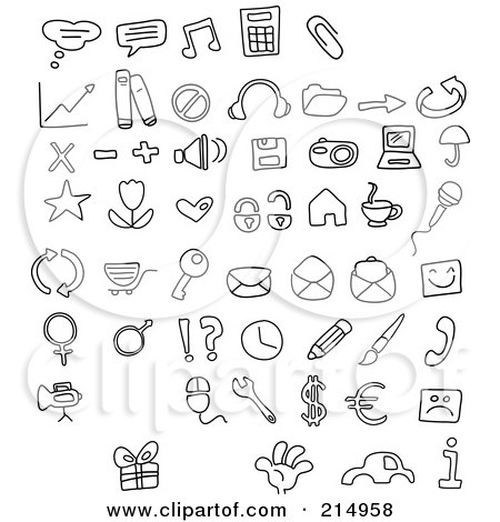 Royalty-Free (RF) Clipart Illustration of a Digital Collage Of Black And White Doodled Icons by yayayoyo