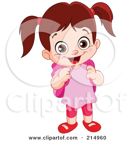 Royalty-Free (RF) Clipart Illustration of a Cute School Girl In A Pink Shirt, With A Backpack by yayayoyo